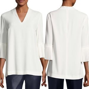 Escada Pleated-Sleeve Crepe V-Neck Blouse